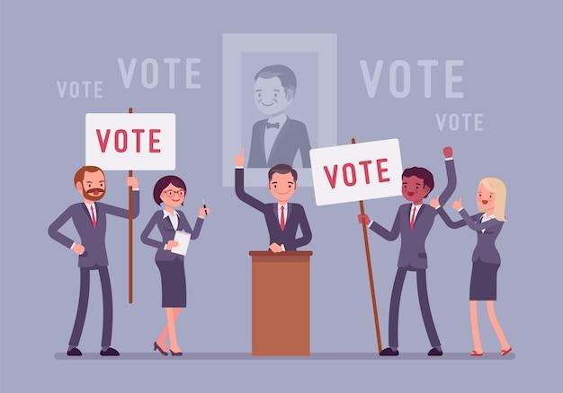 Wahlkampfabstimmung. politiker oder parteikandidat in aufgeregter rede überredet, für ihn zu stimmen, aktive leute beim treffen mit schildern, banner zur unterstützung. stil cartoon illustration