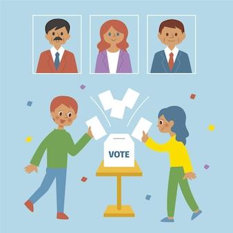 Wahlkampfszenen illustriert