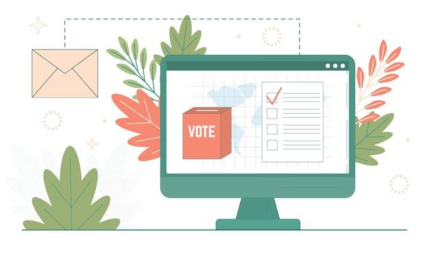 Wahlpapier in der wahlurne auf dem computerbildschirm