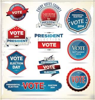 Wahlplaketten und -etiketten
