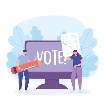 Wahltag, frau mit stimmzettel mann mit bleistift computer abstimmung online-vektor-illustration