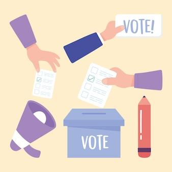 Wahltag, hände mit stimmzettel lautsprecherbox und bleistiftikonen vektorillustration