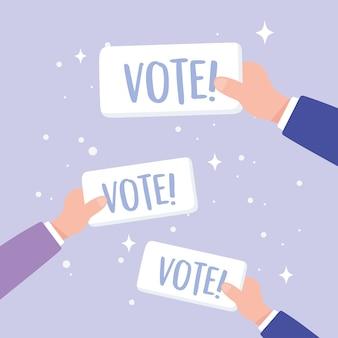 Wahltag, hände mit stimmzettelkampagnenvektorillustration