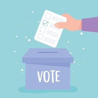 Wahltag, hand, die abstimmungspapier in die wahlurnenvektorillustration setzt