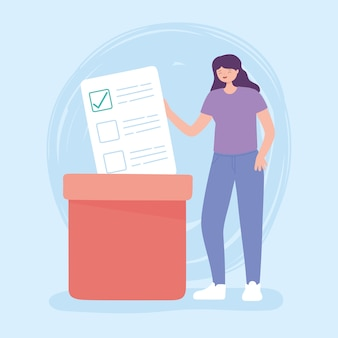 Wahltag, junge frau mit stimmzettel, der in kastenvektorillustration drückt