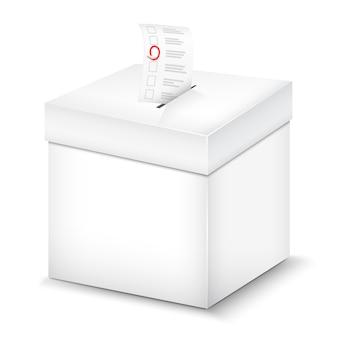 Wahlurne lokalisiert auf weiß