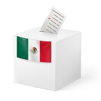 Wahlurne mit stimmpapier. mexiko