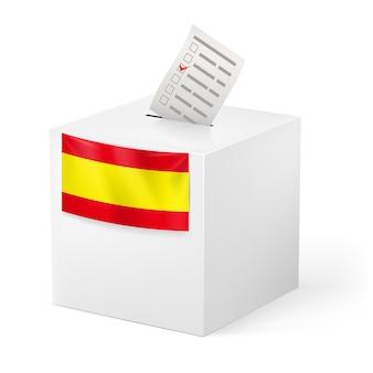 Wahlurne mit stimmpapier. spanien.