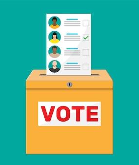 Wahlurne und dokument mit kandidaten. hand mit wahlvorschlag. abstimmungspapier mit gesichtern.