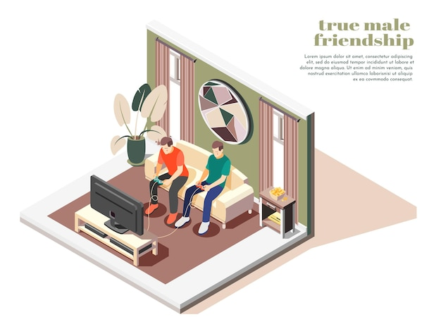 Wahre isometrische illustration der männlichen freundschaft