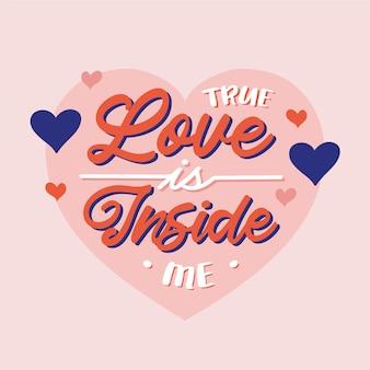 Wahre liebe ist in mir schriftzug