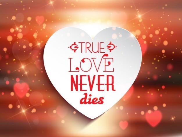 Wahre liebe stirbt nie hellen hintergrund