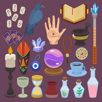 Wahrsagerei wahrsagerei oder glücksmagie des magiers mit tarotkarten und kerzenillustrationssatz der astrologie oder mystischen esoterischen zeichen lokalisiert auf hintergrund