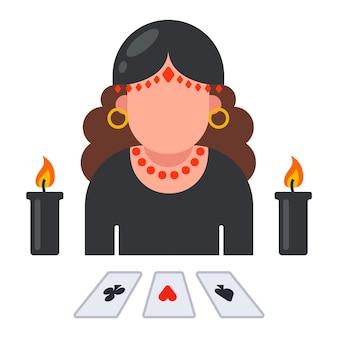 Wahrsagerin mit ausgelegten karten. das schicksal einer person vorhersagen. flache illustration.