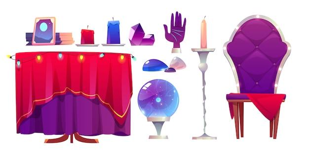 Wahrsagerin zauberkugel, kristall und spiegel