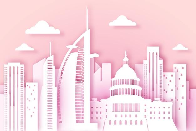Wahrzeichen der skyline im papierstil