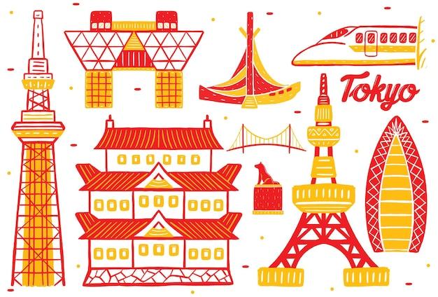 Wahrzeichen der stadt tokio im flachen design-stil