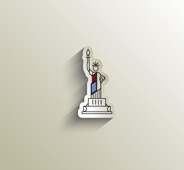 Wahrzeichen der usa-freiheitsstatue. patriotische amerika-vektorillustration