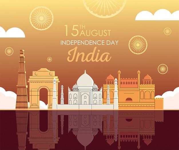 Wahrzeichen orte des unabhängigkeitstags indiens