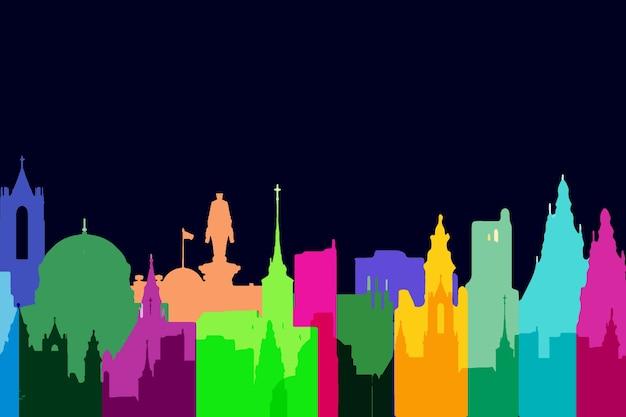 Wahrzeichen skyline bunten stil