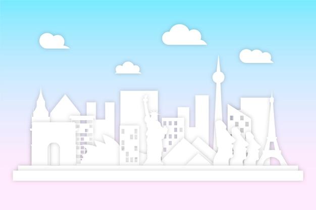 Wahrzeichen skyline im papierstil