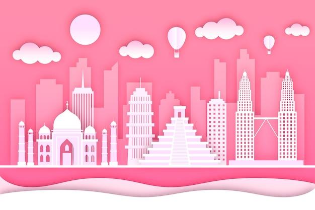Wahrzeichen-skyline im papierstilkonzept