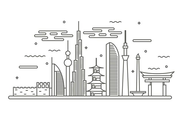 Wahrzeichen skyline im umriss-design