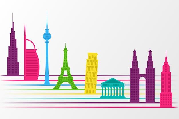 Wahrzeichen skyline in farben