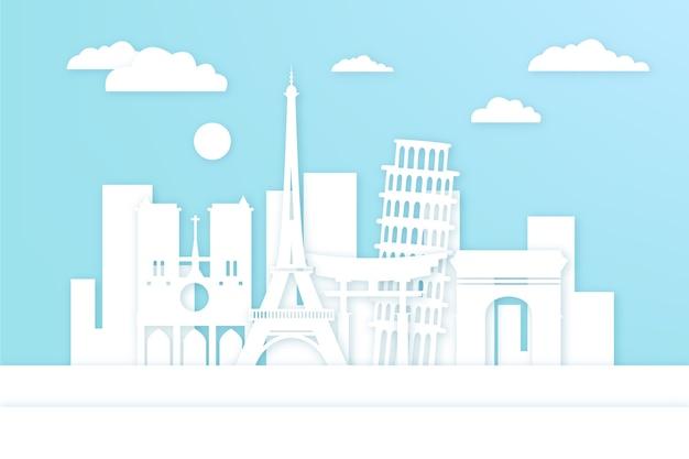 Wahrzeichen skyline-thema im papierstil