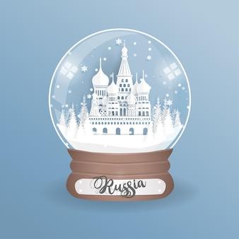Wahrzeichen von russland in einer kugel, glaskugel.