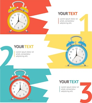 Wake up clock option banner. flaches design.
