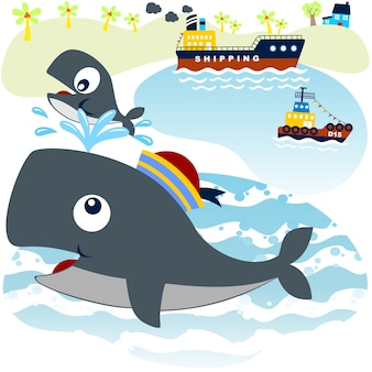 Wal-familie mit frachtschiff