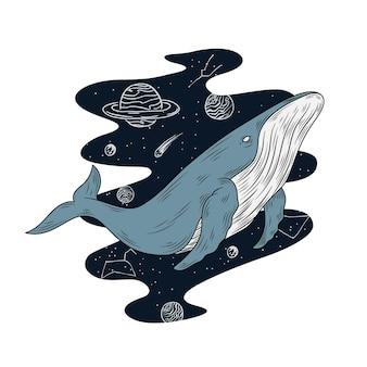 Wal in der weltraumillustration