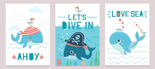 Wal-karte. süße meerestiere blauwale, glücklicher orca für babyparty-design, kinderkleidung drucken, einladungskarten-vektor-set. wassertiere im piratenhut, narwal mit möwe