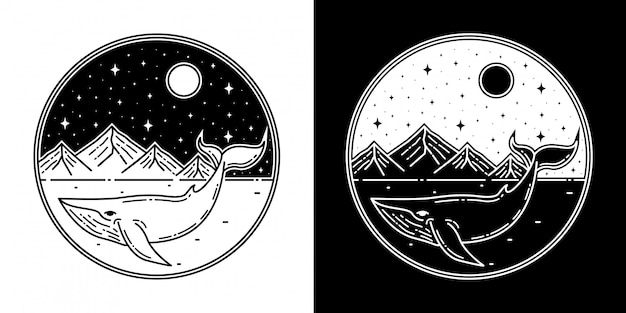 Wal mit berg monoline abzeichen design