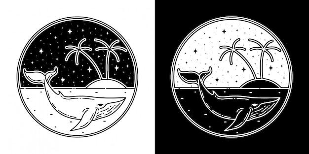 Wal mit insel monoline abzeichen design