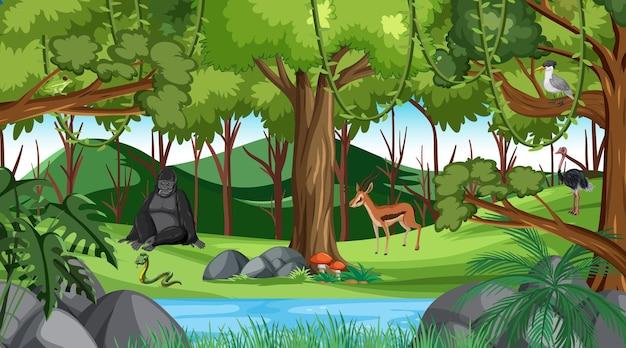 Wald am tag szene mit verschiedenen wilden tieren