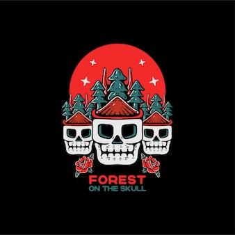 Wald auf dem schädel vintage-stil-charakter