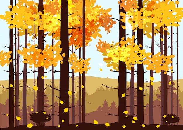 Wald, berge, silhouetten von kiefern, tannen, panorama, horizont