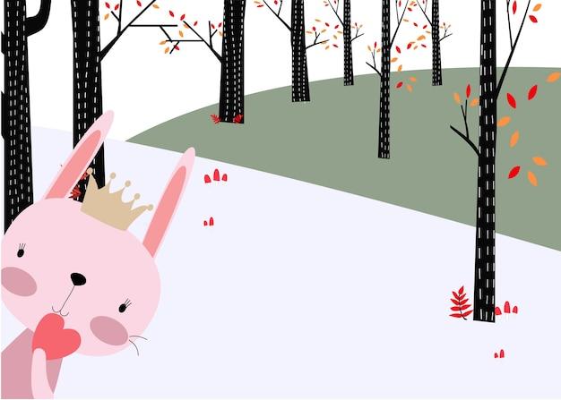Wald des kaninchenhäschens im frühjahr