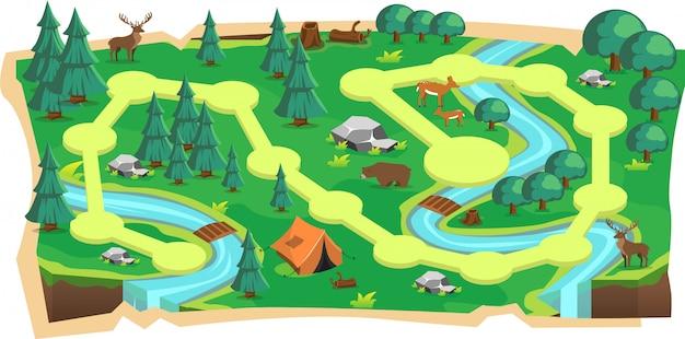 Wald-dschungel 2d-spielkarten mit pfad und grünem land