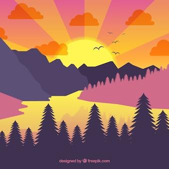 Wald hintergrund und berge mit see bei sonnenuntergang