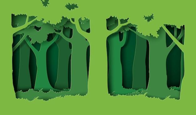 Wald mit bäumen und gras.