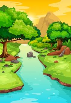 Wald mit einem flusshintergrund