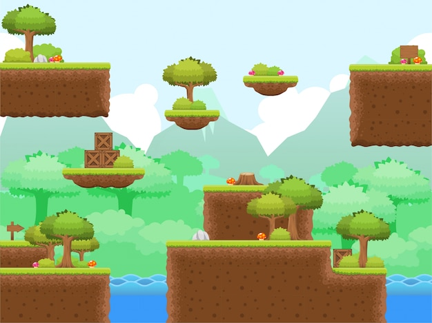 Wald platformer spiel tileset