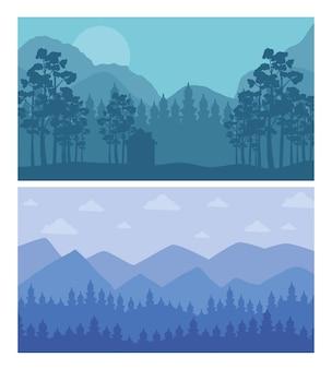 Wald und berge abstrakte landschaften szenen hintergründe