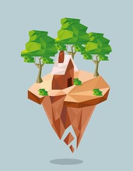 Wald und haus lowpoly