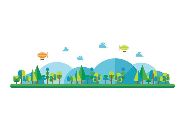 Wald und landschaft im flachen stil. illustration