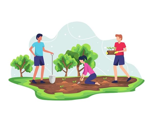 Waldaufforstungskonzept. pflanzen von bäumen und nachhaltiges ökosystem, umweltlandwirtschaft zur rettung der erdökologie. naturpflegeentwicklung für frische und saubere luft. im flachen stil