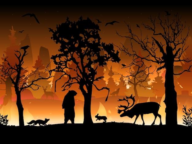 Waldbrand. brennende fichten und eichen, holzpflanzen in flammen. waldbrände mit silhouetten wilder tiere.